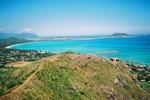 展望台から見たラニカイビーチ(カイルア・カネオヘ湾方面)